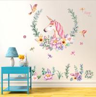 decoración de la habitación papel pintado autoadhesivo al por mayor-Unicornio de dibujos animados etiqueta de la pared bebé niña habitación decoración niños dormitorio papel pintado autoadhesivo moderno cartel en casa