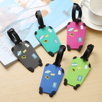 Wholesale Gel Labels - 100PC Lot Travel Accessories Creative Luggage Tag Fashion Cartoon Silica Gel Suitcase ID Addres Holder Baggage Boarding Tags Portable Label