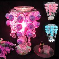 mesas de lâmpada roxa venda por atacado-Criativo luz de mesa de água gota rosa sensor de aromaterapia candeeiro de mesa rosa azul roxo lâmpada de cabeceira descompressão conforto suprimentos casal presente