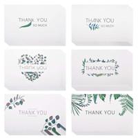 cartões de nota do cumprimento venda por atacado-Obrigado Cartões Em Branco Em Aquarela Artesanato Verde Deixa Cartões de Nota de Saudação para o Casamento Festa de Formatura Aniversário Aniversário