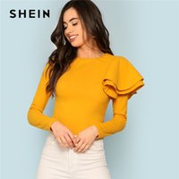 volver zip camisetas al por mayor-SHEIN Ginger Zip Back Ruffle una camiseta de manga elegante sólido Slim Fit camiseta de manga larga Top Women Modern Lady otoño Tee Tops