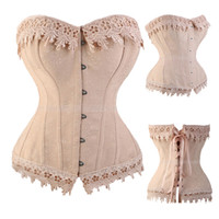 Wholesale burlesque women costumes online - Lace Up Corsets And Bustiers Overbust Waist Trainer Embroidery Sexy Boned White Beige Corset Burlesque Costumes Corselet Tyq