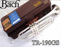 pirinç müzik aleti toptan satış-Bach TR-190GS Trompet Otantik Çift Gümüş Kaplama B Düz Profesyonel Trompet Üst Müzik Aletleri Pirinç Bugle Bb Trumpete ÜCRETSIZ