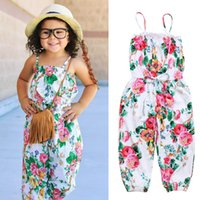 Wholesale trousers for girls fashion online - 2018 New Baby Girls Floral Playsuit Cute Fashion Suspender Pants INS baby Sisters Hot Girls Casual Trousers Outfits for T