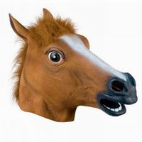 Wholesale wholesale animal suppliers for sale - Halloween Suppliers Horse Head Mask Creepy Latex Animal Costume Prop Gangnam Style For Halloween New