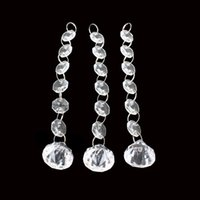 Wholesale crystal garland trees - Transparent Acrylic Crystal Bead Garland Strands 14mm Christmas Tree Curtain Hanging Octagonal Beads Chain For Wedding Decorations 1 1hm B