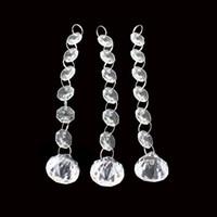 akrilik 14 mm kristal toptan satış-Şeffaf Akrilik Kristal Boncuk Garland Tellerinin 14mm Noel Ağacı Perde Asılı Sekizgen Boncuk Zincir Düğün Süslemeleri Için 1 1hm B