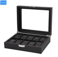 Wholesale Knitted Leather Watch - Luxury Black Stripe Knit Leather 10 Slots Jewelry Organizers Retail Watches Display&Storage Carbon Fiber Box Collect Be Well Box
