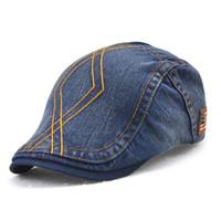 Wholesale Dark Blue Jeans For Women - Fashion Summer Autumn Jeans Hats for Men Women High Quality Casual Unisex Denim Beret Caps Bones Flat Sun Cap for Cowboy