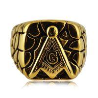 Wholesale mason rings men - High quality Titanium steel Free Mason Masonic Master Signet Gold Mens Ring Fashion Hip hop Jewelry Biker Ring for Men