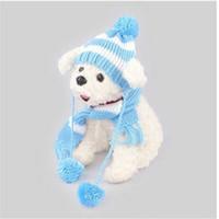 chapeaux de chien écharpes achat en gros de-En gros livraison gratuite ventes chaudes Chapeaux Écharpe Chien Costume Chapeau Chapeau Écharpe Ensemble Chien Vêtements Chapeau