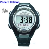relógios italianos venda por atacado-Relógio falante italiano Voz grande para pessoas cegas Despertador de quartzo