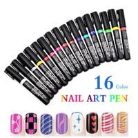 Wholesale 3d Paint Pen For Nails - EPACKET 16 Colors Nail Art Pen for 3D Nail Art DIY Decoration gel Polish Pen Set 3D Design Nail Beauty Tools Paint Pens