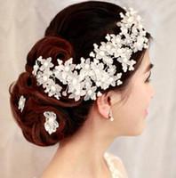 Wholesale pearl wedding ornament resale online - Bride flower head flower crystal ornament Pearl Wedding headwear wedding dress hair ornament