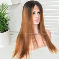 Wholesale Ponytail Long - Glueless Ombre Full Lace Wig For Women Two Tone Peruvian Wig 1BT30 Ombre Front Lace Wig Can Do Ponytail With Black Roots
