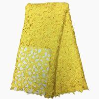 sarı elbise kumaşı toptan satış-Yüksek kaliteli afrika gipür dantel kumaşlar için sarı dantel elbise için negatif dantel kumaşlar düğün gelin 5 yards başına lot