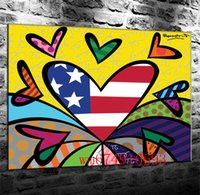 Wholesale pop art home decor canvas for sale - Group buy Romero Britto Pop Art Canvas Pieces Home Decor HD Printed Modern Art Painting on Canvas Unframed Framed