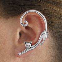 pendientes de envoltura de animales al por mayor-Punk estilo oro / plateado gato pendiente del poste con oreja Cuff Rock Animal Stud Earring mujeres 2018 Ear Wrap