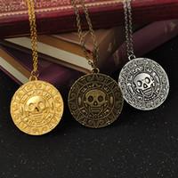 ingrosso collana in oro azteco-Vintage Bronzo Oro Coin Pirate Charms Aztec Moneta Collana Film Ciondolo Collane per la Signora Regalo di Natale Gioielli Moda GGA1090