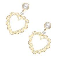 dantel inci küpeleri toptan satış-925 Ayar Gümüş Takı Kadın Moda Sevimli Tiny Hollow Kalp Dantel Saplama Küpe Hediye Kızlar Kadınlar Lady Pearl