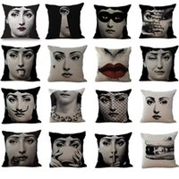 Wholesale new art heading online - New Beauty Girl Master Art Head Portrait Flax Sofa Car Seat Cushion Cover Fornasetti Retro Pillow Case Bedding Supplies Home Decor Soft bh