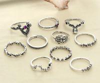 conjuntos de anéis roxos venda por atacado-10 Pçs / set Oco Palmas Coroa Anéis Conjuntos Mulheres Anéis Midi Roxo Jóia De Cristal Comum E Knuckle Anel Anéis Menina D574L