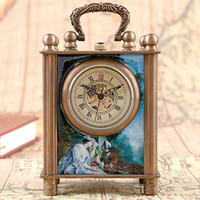 Wholesale ancient chinese painting for sale - Group buy Fashion European Style Antique Painted Chinese Ancient Copper Hand carved Mechanical Clock Timer Desk Clocks Classics Gift