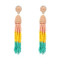 Wholesale Ship Chandelier For Sale - Multicolor bohemian long tassel earrings for women ladies seed beads handmade earings jewelry hot sale orecchini drop shipping