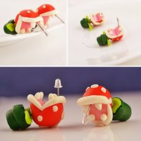 Wholesale polymer clay ear studs - Handcrafted Piranha Plant Corpse Flower Men-Eating Flower Plant Polymer Clay Accessories Earrings Ear Studs Gift D445L