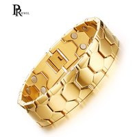 германиевый магнит оптовых-Double Magnet Germanium Energy Bracelet for Men Gold Color Stainless Steel Chain 3000 Gauss Healing Jewelry
