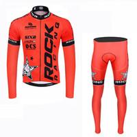 самая горячая гоночная одежда оптовых-ROCK RACING team Велоспорт длинными рукавами Джерси (нагрудник) брюки устанавливает новый открытый спорт велосипед одежда костюм с горячей продажи велосипедов одежда c1514