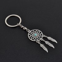 металлические подвески из серебра оптовых-Silver Metal Key Chain Ring Feather Tassels Dream Catcher Keyring Keychain Gift Decoration Pendant New Year Dreamcatcher Gift