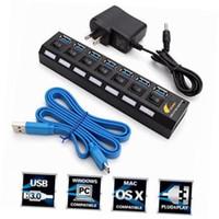 cabo de troca de usb venda por atacado-7 PORT HUB USB 3.0 HUB Adaptador de Cabo de Alimentação USB Com Power on / off Interruptor Para iPad para iPhone Macbook 3.0