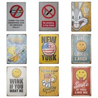 Wholesale poster new - Cartoon 20*30cm Tin Sign Live Love And Laugh Tin Poster Happiness Is Good For You Iron Painting New Arrival ZB