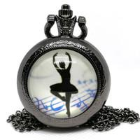 ingrosso ballerini neri-New Fashion Dancer Ballet Girl Lady nero / argento / bronzo orologio da tasca al quarzo analogico collana pendente donne orologio da tasca regalo