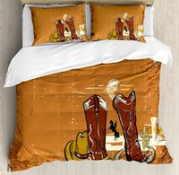 Wholesale western queen bedding - Western Duvet Cover Set Wild West Theme s Cowboy Shoes Rope and Hat Grunge 4 Piece Bedding Sets