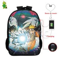 usb kulaklık girişi toptan satış-Anime Naruto Sırt Sasuke Akatsuki İşlevli USB Şarj Kulaklık Jack Gençler Günlük Dizüstü Sırt Çantası için Okul Çantaları