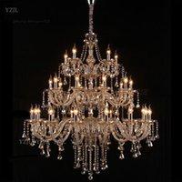 led kolye ışık k9 toptan satış-Avize K9 kristal kolye avize büyük oturma odası projesi Villa dubleks merdiven kolye avize kristal aydınlatma