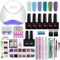 uv gel nail set 36w venda por atacado-COSCELIA Conjunto Para Manicure Kit De Unhas Conjunto Gel Verniz 6 Cores UV Gel Polonês 36 W LED Lâmpada Verniz Verniz UV Máquina