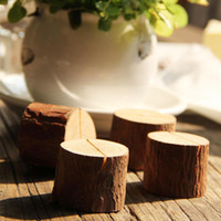 Wholesale card place clip - Tree Stump Craft Place Card Holder Wood Slice Rustic Style Photo Clip Home Natural Wooden Decoration NNA122