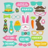 Wholesale egg prop - New Arrival DIY Paper Set For Easter Bunny Chick Rabbit Egg Photo Booth Props Novelty Wedding Decorations Supplies 10jd B