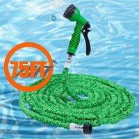 Wholesale Green Rubber Hose - 75FT Expandable Garden Hose Pipe with 7 in 1 Spray Gun Garden Hoses