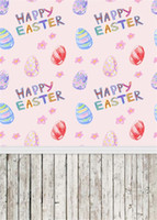 Wholesale easter photography backgrounds resale online - Happy Easter Day Photography Backdrops Vinyl Printed Eggs Pink Flower Baby Newborn Photo Props Children Photo Studio Background Wood Floor