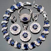 blaue stein armband-sets großhandel-Luxus schmuck Silber 925 Schmuck Sets Blau Zirkon Braut Frauen PendantNecklace Ring Ohrringe Mit Natursteinen Armbänder Schmuck Geschenk