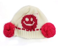 Wholesale football beanie baby - Fashion New 1PC New Baby Girls Boys Cute Knit Crochet Dual Ball Winter Warmer Beanie Cap Hat Kniing Wool White hat