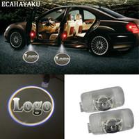 audi logosu led ışıkları toptan satış-ECAHAYAKU 2 Adet Hayalet Gölge Işık Hoşgeldiniz Lamba Logo Lazer Projektör Araba LED Kapı Uyarı Işığı Audi BMW Toyota Mercedes-Benz