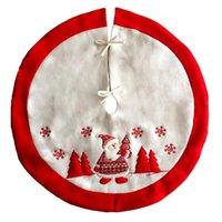 xmas etekler toptan satış-90 cm Çap Kırmızı Noel Baba Ağacı Etek Noel Ağacı Etek Noel Dekorasyon Noel Kapak Bankası Önlükleri Malzemeleri