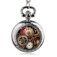 siyah cam kolye toptan satış-Yeni Varış Bağbozumu Bronz / Gümüş / Siyah Cam Dişli İskelet Steampunk Madalyon Kolye Cebi Kolye Kolye