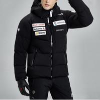 Wholesale Men Down Ski Jacket - DESCENTE man's Zipper Hooded Down Parkas Waterproof Windproof And Warm Outerwear Thick Fashion Ski Down Jacket coat HFLSYRF001