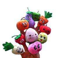 marionetas de frutas vegetales al por mayor-Frutas verduras Marioneta de dedo Peluche Niño Bebé Educación temprana Juguetes Regalo Títeres de dedo # 20